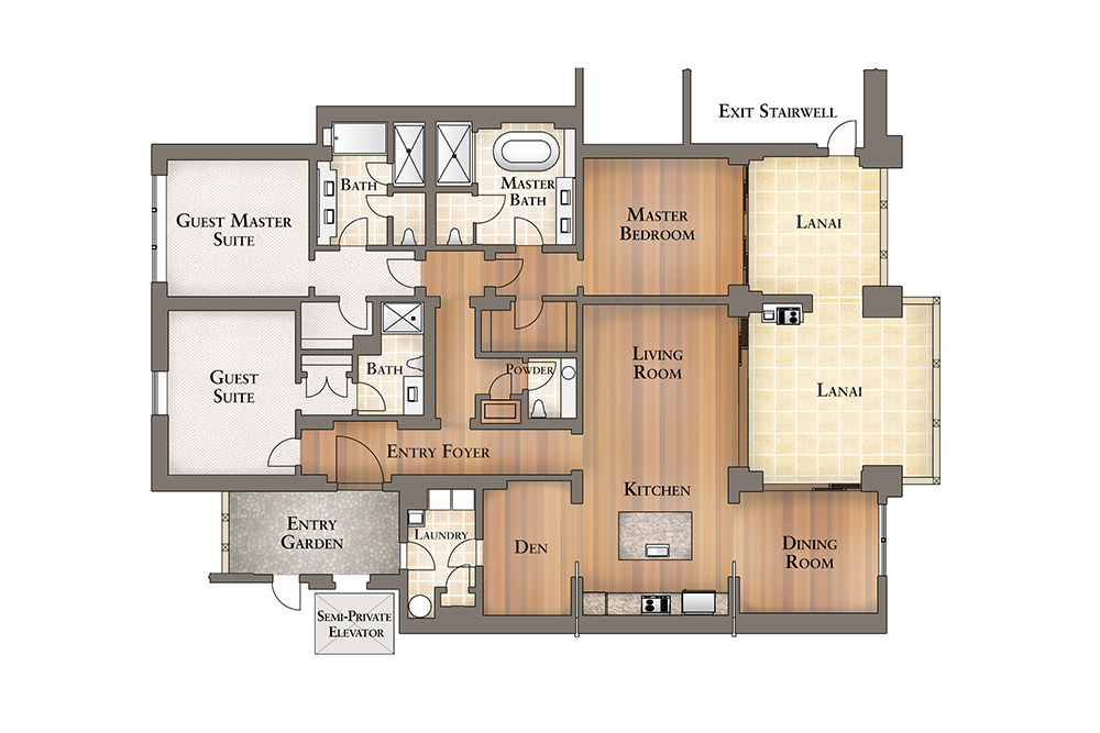 Floor Plan for Kealoha Residence 1-102 located at the Montage Kapalua Bay