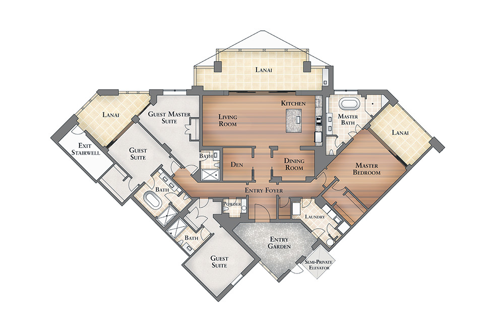 Floor Plan for Kiure Residence 2-201 located at the Montage Kapalua Bay - Coming Soon!