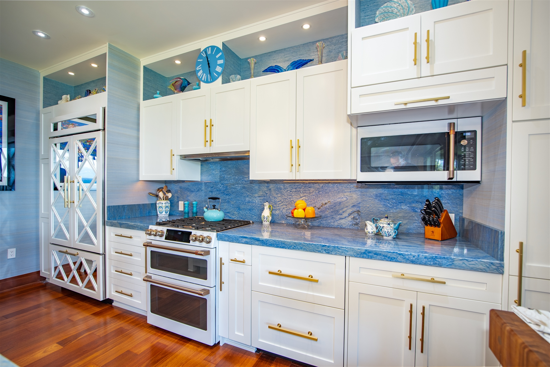 kitchen with blue marble counter tops
